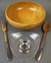 STERLING SILVER & WOOD SALAD SET.  Together with a sterling mounted glass bowl.