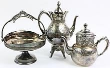 VICTORIAN ENGRAVED SILVERPLATE. Cakes basket and two coffee pots.  Th