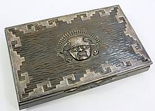 SILVER ON HAMMERED PATINATED COPPER CIGAR BOX.  Aztec design.  1 1/2