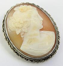 NEOPOLITAN (ITALY) CARVED SHELL CAMEO.  Mounted in .800 silver as a pendant or b