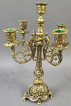 BRONZE FIVE LIGHT CANDELABRA.  Classic Renaissance design.  14