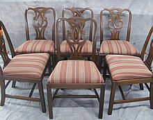 SET OF SIX KITTINGER CHIPPENDALE MAHOGANY SIDE CHAIRS.  Mid 20th century.