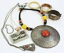 NATIVE ETHNIC JEWELRY.  Approx. 10 pieces of stone set silver, metal, bone, etc.
