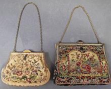 TWO FINE PETITPOINT HANDBAGS.  Smaller marked Vienna, has a small engraved silve