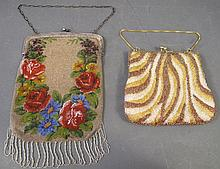 TWO BEADED HANDBAGS.  Including antique .800 silver frame monogrammed and dated