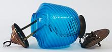 BLUE SWIRL HALLWAY HANGING LAMP. With pulleys for