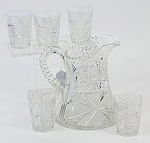 AMERICAN BRILLIANT CUT GLASS LEMONAIDE SET. Ca.