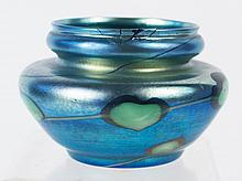 L.C. TIFFANY FAVRILLE BLUE IRREDESCENT BOWL.