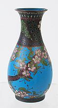FINE AND EARLY CLOISONNE VASE. Blue ground with