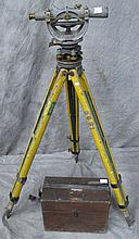 LAND SURVEYORS TRANSIT. With tripod and fitted