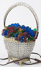 ITALIAN GLASS FRUIT BASKET LAMP. With beaded body.