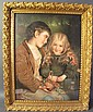 VICTORIAN CHROMOGRAPH OF TWO CHILDREN HOLIDING A