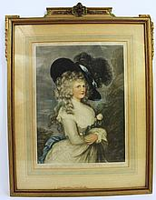 MEZZOTINT PORTRAIT OF AN 18TH CENTURY LADY.  Ca. 1920.  Signed in the mat Handfo rd, etc.  Image is 19