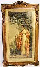 MEZZOTINT OF AN ELEGANT LADY STANDING IN A LANDSCAPE.  Ca. 1920.  Signed on the  mat.  Image is 18