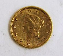 U.S. 1853 GOLD DOLLAR-LIBERY HEAD (TYPE I).  (Note:  XF-AU condition, clean and  sound).