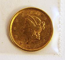 U.S. 1852 GOLD DOLLAR-LIBERTY HEAD (TYPE I).  (Note:  very fine condition).