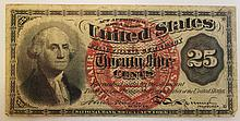 U.S. 25 CENTS FRACTIONAL CURRENCY NOTE-1863.  Head of Washington, Red seal.  (No te:  very fine condition).