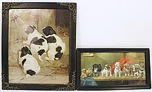 TWO CHROMOLITHOGRAPHS OF PUPPIES.  One is the puppy class 9 1/2