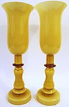 PAIR OF BLOWN GLASS MANTLE GARNITURE VASES.  16