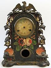 RARE VICTORIAN CAST IRON SHELF CLOCK. Ca. 1870. Patriotic eagle and floral mot if with paint highlights and enhancements. 15