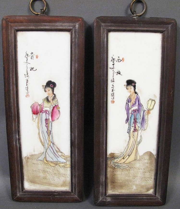 CHINESE REPUBLIC ERA PAIR OF FRAMED PORCELAIN PLAQUES.