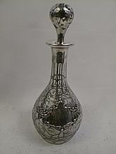 GORHAM SILVER OVERLAY DECANTER. With full cage