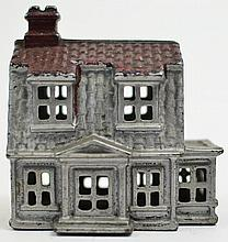 DUTCH COLONIAL HOUSE CAST IORN STILL BANK. Two