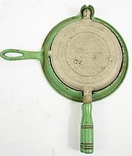 CHILD'S CAST IRON TOY WAFFLE IRON. Three parts
