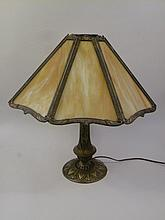 RAINBOW CARAMEL SLAG EIGHT PANEL LAMP. Petticoat