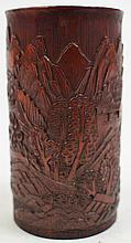 CHINESE CARVED BAMBOO BRUSH POT. Mountain scenery.
