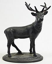 CAST IRON ELK STILL BANK. Recent black paint.