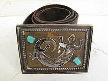 SOUTH WESTERN OR NATIVE AMERICAN BELT BUCKLE. Silver and turquoise on brass. Buc
