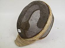 VINTAGE FENCING HELMET. Leather support as is. 12