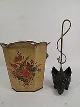 VINTAGE DOG FACE CAST IRON AND BRASS  BOOTJACK. ALONG WITH HANDPAINTED TOLE WAS