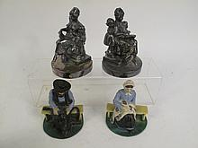 TWO PAIR OF VINTAGE BOOKENDS. Silver plated (with wear) along painted cast iron