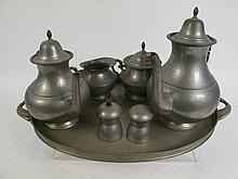 VINTAGE 5 PC PEWTER COFFEE AND TEA SET.  Along with a pair of salt and pepper sh