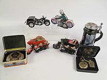 BOX LOT OF HARLEY DAVIDSON COLLECTIBLES. Including a beer stein, 5 toys, a pocke