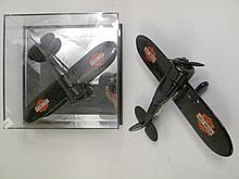 PAIR OF MODEL HARLEY DAVIDSON AIRPLANES. One in mirrored display case. 7.5