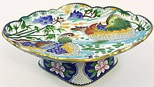 CHINESE CLOISONNE PLATEAU SERVING DISH.  Design of mandarin ducks.  12 1/2
