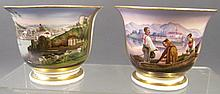 PAIR OF FINE HANDPAINTED SPECIMEN CUPS.  Porcelain with incredible alpine inspired lake scenes.  Possibly Bavarian.  Ca. 1850.  One signed