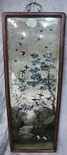 CHINESE REVERSE PAINTING ON GLASS.  Of mountains and forest with peafowl, cranes, etc.  Finely wood backed.  Image is 44