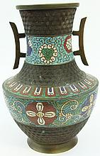 CHINESE CLOISONNE VASE.  With aternating bands of color and hexagon texture.  12