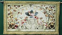 PETIT POINT STYLE WOVEN TAPESTRY.  With Roman motif design with architectural ,