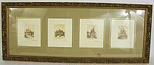 SET OF FOUR ETCHINGS OF PARISIAN LANDMARK ARCHITECTURE.  Miniatures, images 3