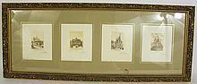 SET OF FOUR ETCHINGS OF PARISIAN LANDMARK ARCHITECTURE.  Miniatures, images 3