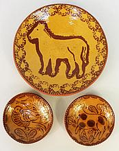 NED FOLTZ REDWARE SLIP DECORATED POTTERY.  Three pieces with animal decor.  Date
