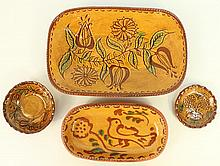NED FOLTZ REDWARE SLIP DECORATED POTTERY.  Two oval 10
