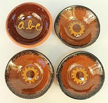 NED FOLTZ REDWARE SLIP DECORATED POTTERY.  3 sunflower 6