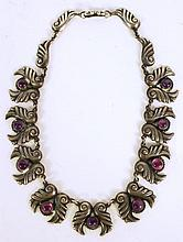 STERLING SILVER & AMETHYST LINK NECKLACE.  15