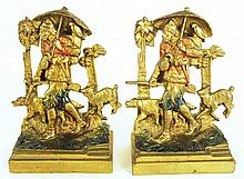 ROBINSON CRUSOE BOOKENDS.  By Pompeian Bronze Co.  Polychrome metal shell over